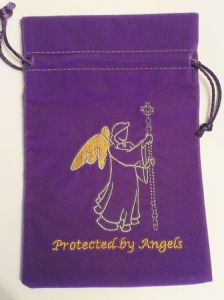 Velvet Tarot Card Bag: Purple with Protected by Angels design